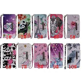 voordelige Galaxy S7 Edge Hoesjes / covers-hoesje Voor Samsung Galaxy S9 / S9 Plus / S8 Plus Portemonnee / Kaarthouder / Schokbestendig Volledig hoesje Vlinder / Olifant / Panda Hard PU-nahka