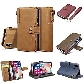 olcso iPhone tokok-Case Kompatibilitás Apple iPhone XR / iPhone XS Max Pénztárca / Kártyatartó / Ütésálló Héjtok Egyszínű Kemény Valódi bőr mert iPhone XS / iPhone XR / iPhone XS Max
