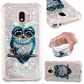 voordelige Galaxy J3 Hoesjes / covers-hoesje Voor Samsung Galaxy J8 (2018) / J7 (2017) / J7 (2018) Schokbestendig / Stromende vloeistof / Transparant Achterkant Uil / Glitterglans Zacht TPU