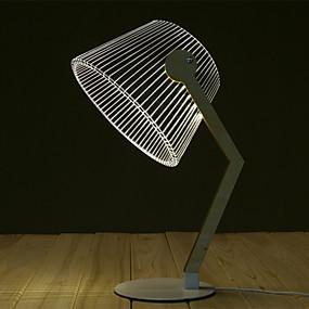 cheap Novelty Lighting-Bending table lamp Modern Design Novelty Lamp 3D Wood Table Lamp LED Reading Lamp With Luminous Illusion Light Home Decor