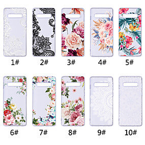 cheap Galaxy S Series Cases / Covers-Case For Samsung Galaxy Galaxy S10 / Galaxy S10 Plus Transparent / Pattern Back Cover Lace Printing / Flower Soft TPU for S9 / S9 Plus / S8 Plus