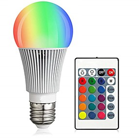 billige LED-smartpærer-1set 10 W Smart LED-lampe 900 lm E26 / E27 A60(A19) 12 LED Perler Integreret LED Dæmpbar Fjernstyret Dekorativ RGBW 85-265 V / RoHs