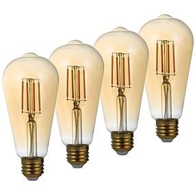 رخيصةأون مصابيح خيط ليد-4 قطع gmy st21 led اديسون 3.5 واط أدى خيوط ضوء لمبة يعادل 28 واط مع e26 قاعدة 2200 كيلو الدافئة الأبيض لغرفة النوم غرفة المعيشة المنزل مقهى الديكور