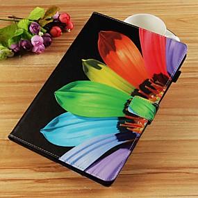 voordelige Galaxy Tab E 9.6 Hoesjes / covers-hoesje Voor Samsung Galaxy Tab S4 10.5 (2018) / Tab A2 10.5(2018) T595 T590 / Tab E 9.6 Portemonnee / Kaarthouder / met standaard Volledig hoesje Bloem Hard PU-nahka