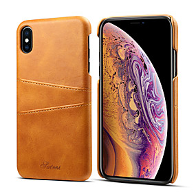 abordables Coques d'iPhone-Coque Pour Apple iPhone XS / iPhone XS Max Porte Carte Coque Couleur Pleine Dur faux cuir pour iPhone XS / iPhone XR / iPhone XS Max