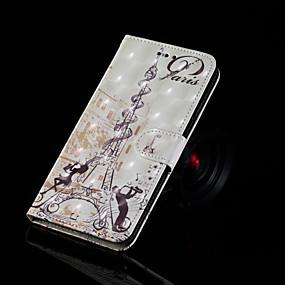 voordelige Galaxy S7 Edge Hoesjes / covers-hoesje Voor Samsung Galaxy S9 / S9 Plus / S8 Plus Portemonnee / Kaarthouder / met standaard Volledig hoesje Eiffeltoren Hard PU-nahka