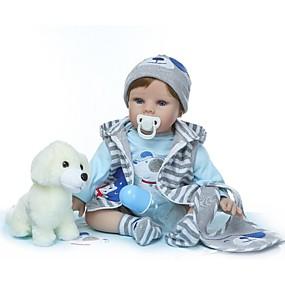 olcso Babák és töltött játékok-NPKCOLLECTION Reborn Dolls Fiú babák 24 hüvelyk Vinil - Ajándék Kézzel készített Mesterséges beültetés kék szemek Gyerek Uniszex Játékok Ajándék