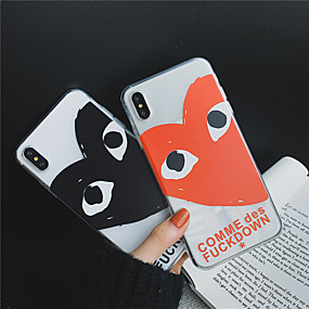 olcso iPhone 7 Plus tokok-Case Kompatibilitás Apple iPhone XR / iPhone XS Max Átlátszó / Minta Fekete tok Szív Puha TPU mert iPhone XS / iPhone XR / iPhone XS Max