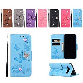 Недорогие Чехлы и кейсы для Galaxy S5 Mini-Кейс для Назначение SSamsung Galaxy S9 / S9 Plus / S8 Plus Кошелек / Бумажник для карт / Стразы Чехол Однотонный / Бабочка / Цветы Твердый Кожа PU