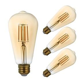 Χαμηλού Κόστους Λαμπτήρες LED με νήμα πυράκτωσης-GMY® 4pcs 4 W LED Λάμπες Πυράκτωσης 320 lm E26 / E27 ST21 4 LED χάντρες COB Με ροοστάτη Διακοσμητικό Κεχριμπάρι 120 V