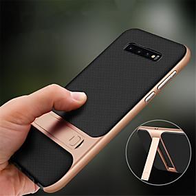 رخيصةأون حافظات / جرابات هواتف جالكسي S-غطاء من أجل Samsung Galaxy Galaxy S10 / Galaxy S10 Plus ضد الصدمات / مع حامل غطاء كامل للجسم لون سادة قاسي TPU إلى S9 / S9 Plus / S8 Plus
