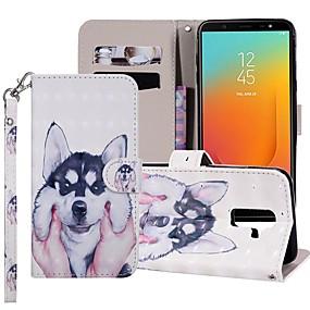 voordelige Galaxy J7(2017) Hoesjes / covers-hoesje Voor Samsung Galaxy J8 (2018) / J7 (2017) / J7 (2018) Portemonnee / Kaarthouder / met standaard Volledig hoesje Hond Hard PU-nahka
