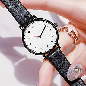 זול תכשיטים-בגדי ריקוד נשים קווארץ אופנתי שחור דמוי עור Chinese קווארץ לבן שחור עמיד במים שעונים יום יומיים 30 m יחידה 1 אנלוגי שנה אחת חיי סוללה