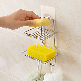 cheap Bathroom Gadgets-Self Adhesive Stainless Steel Soap Dish Storage Holder Bathroom Kitchen Wall Mount Sponge Draining Hanger Towel Hooks