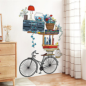 cheap Decoration Stickers-Retro bicycle ornament wall sticker creative living room bedroom corridor warm background wall self-adhesive wallpaper stickers