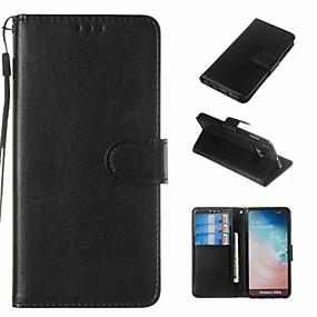 voordelige Galaxy S7 Edge Hoesjes / covers-hoesje Voor Samsung Galaxy S9 / S9 Plus / S8 Plus Portemonnee / Kaarthouder / Schokbestendig Volledig hoesje Effen Hard PU-nahka