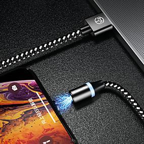 halpa Google-caseme-tyypin c kaapeli magneettinen laturi kaapelipuhelin nopea lataus johti 1,0 m (3ft) nailonia punottu samsung / huawei / sony / xiaomi / oppo / vivo