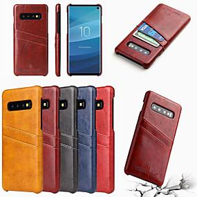 halpa Galaxy S -sarjan kotelot / kuoret-kovempi shann kotelo samsung galaxy s10 s10 plus kortin pidikkeelle takakansi kiinteä värillinen kova pu nahka s10 e s9 s9 plus