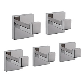 cheap Bathroom Gadgets-Robe Hook New Design / Creative Contemporary / Modern Stainless steel / Stainless Steel / Iron / Metal 5pcs - Bathroom Wall Mounted
