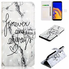 voordelige Galaxy J7(2017) Hoesjes / covers-hoesje Voor Samsung Galaxy J7 (2017) / J7 (2016) / J6 (2018) Portemonnee / Kaarthouder / Schokbestendig Volledig hoesje Woord / tekst / Marmer Hard PU-nahka