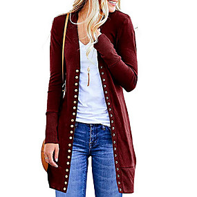 cheap Women's Sweaters-Women's Solid Colored Long Sleeve Cardigan, V Neck Red / Navy Blue / Purple L / XL / XXL