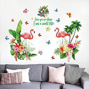 baratos Casa & Cozinha-adesivos de parede flamingo folha verde - avião adesivos de parede floral / botânica / paisagem sala de estudo / escritório / sala de jantar / cozinha
