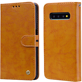 cheap Samsung Accessories-Case For Samsung Galaxy Galaxy S10 Card Holder / Flip Full Body Cases Solid Colored Hard PU Leather for Galaxy S10