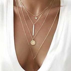 billige Lagvise halskjeder-Dame Halskjede lagdelte Hals Chrome Gull 30+4 cm Halskjeder Smykker 1pc Til Gave Daglig Arbeid Love Festival