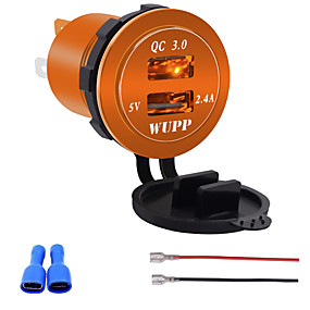 voordelige Autoladers-12V-24V QC3.0 motorfiets Dual USB-aansluiting lader stroomadapteruitgang voor automodellenblauw oranje licht