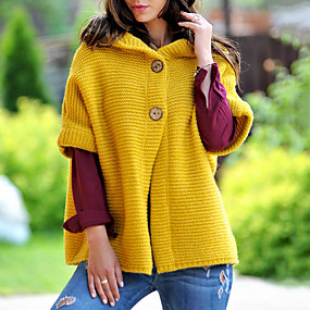 cheap Women's Sweaters-Women's Solid Colored Long Sleeve Cardigan, Standing Collar Fuchsia / Yellow / Blue S / M / L