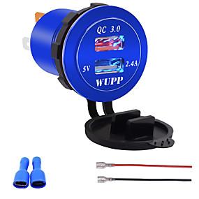 voordelige Autoladers-12V-24V QC3.0 motorfiets Dual USB-aansluiting lader stroomadapteruitgang voor automodellengeelblauw licht