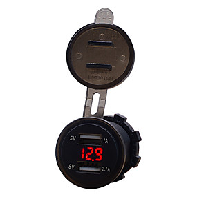 voordelige Autoladers-auto motorfiets 12v mobiele telefoon autolader dual usb 3.1a sigarettenaansteker lader modellenblauw 3.1a dual usb voltmeter