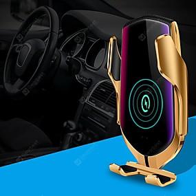 voordelige Autoladers-slimme automatische vastklemmen qi auto draadloze oplader 10w snel opladen 360 rotatie infrarood sensor slimme app positionering ontluchter mount autotelefoonhouder voor iphone xr xs huawei p30 pro xi