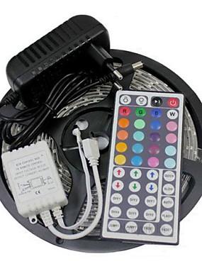 ราคาถูก ไฟเส้น LED-5 เมตร 300 leds นำแถบไฟชุด 3528 rgb 60 leds / m 44key ir ควบคุมและ 3a แหล่งจ่ายไฟ ac100-240v