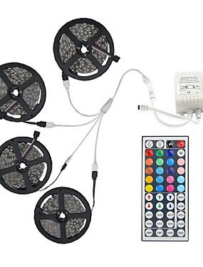 ราคาถูก ไฟเส้น LED-20 เมตร (4 * 5 เมตร) 5050 rgb 600 leds แถบที่มีความยืดหยุ่นไฟไม่กันน้ำ dc 12 โวลต์ 600 leds กับ 44key ir ชุดควบคุมระยะไกล