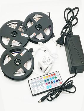 ราคาถูก ไฟเส้น LED-ZDM® 3x5M ชุดไฟ 900 ไฟ LED SMD 2835 / 2835 SMD 1 อะแดปเตอร์ 12V 6A / รีโมทคอนโทรล 44Keys / สายเชื่อมต่อสายเคเบิล 1 ถึง 2 RGB Waterproof / Cuttable / ปาร์ตี้ 100-240 V 1set / IP65 / ติดเองได้ในตัว