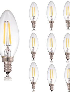 Χαμηλού Κόστους Λαμπτήρες LED με νήμα πυράκτωσης-10pcs 2 W 180 lm E14 LED Λάμπες Πυράκτωσης C35 2 LED χάντρες COB Διακοσμητικό Θερμό Λευκό / Ψυχρό Λευκό 220-240 V