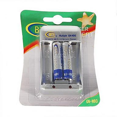 BTY-1000 mini 1.2V AA / AAA batteri oplader med 2 * AAA 400mAh Ni-MH batterier kit