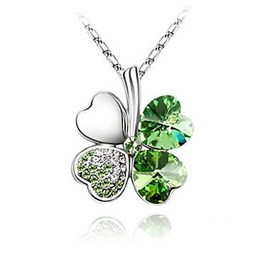 grün leuchtenden Kristall und Platin beschichtet Legierung Anhänger Halskette