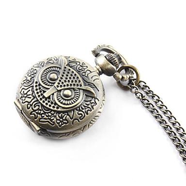 Dames Zakhorloge Modieus horloge Kwarts Band Vintage Uil Brons Bronzen