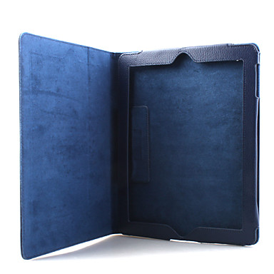 Litchi Grain Slim PU Leather Case & Stand for iPad 2/3/4 - Blue