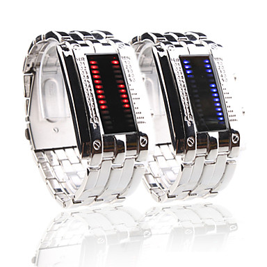 Silvery Band Double Row Arrayed Couple Style Men Blue and Women Red LED Wrist Watch