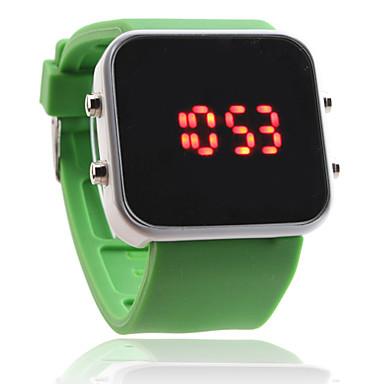 mené unisexe rouge vert cas montre-bracelet de bande numérique carré de silicone