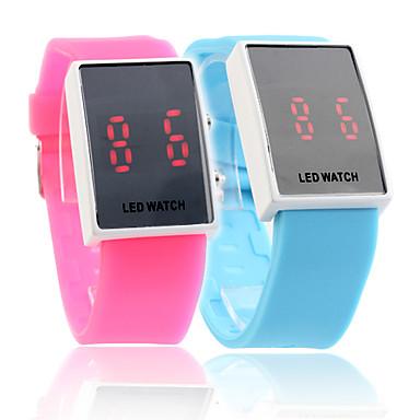 silikonowa opaska styl sportowy czerwona dioda para zegarek