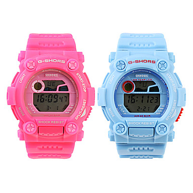 Couple's Water-Resistant Digital Silicone Sporty Wrist Watches (1-Pair, Blue & Pink)