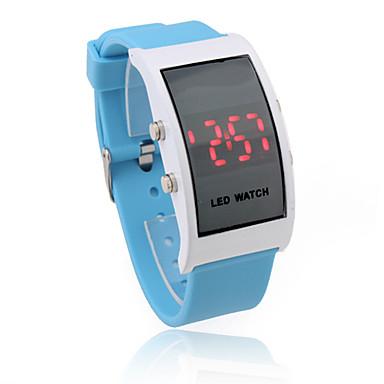 unisex led rojo del caso del rectángulo azul reloj de pulsera banda de silicona digitales