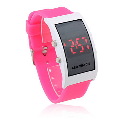 Unisex Red LED Digital Rectangle Case Pink Silicone Band Wrist Watch
