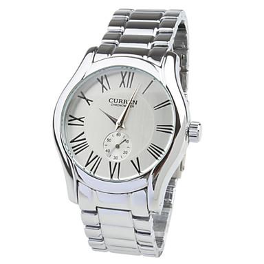 Fashion Men's White Dial Silver Band Wrist Watch