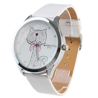 Women's Cartoon Cat Pattern White PU Band Quartz Analog Wrist Watch Cool Watches Unique Watches Fashion Watch