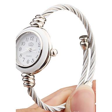 quartz horloge met metalen touw horlogebandje - wit gezicht